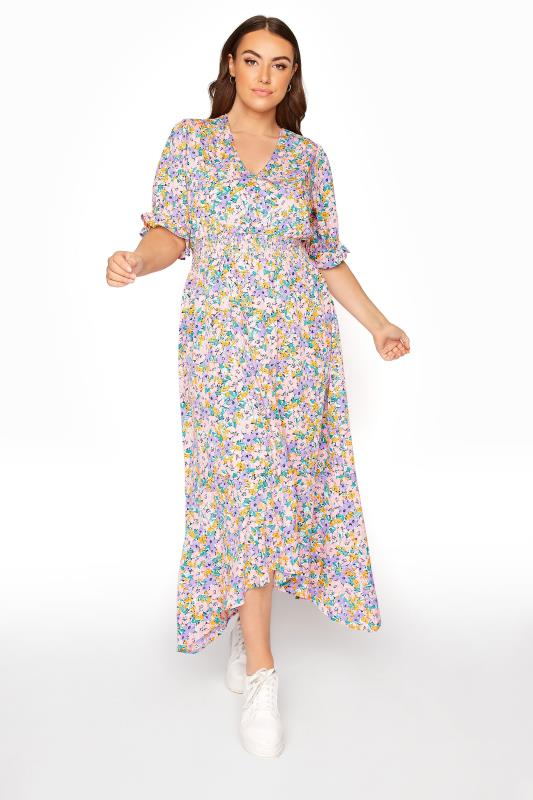 Plus Size  LIMITED COLLECTION Multi Floral Hanky Hem Midi Dress
