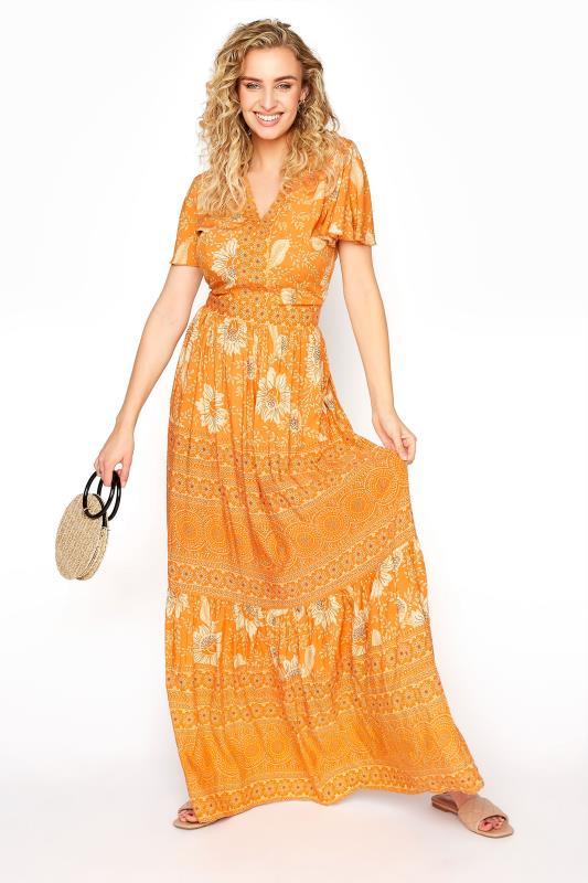 LTS Orange Floral Tiered Boho Maxi Dress_B.jpg