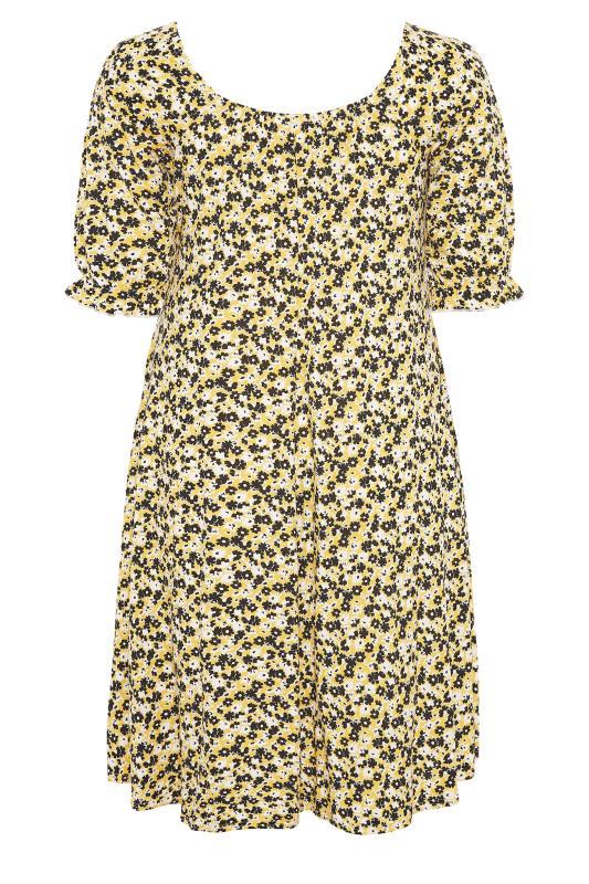 YOURS LONDON Yellow Ditsy Milkmaid Dress_BK.jpg