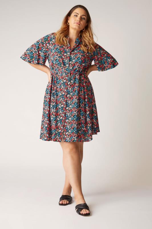 THE LIMITED EDIT Black Floral Print Shirt Mini Dress_A.jpg