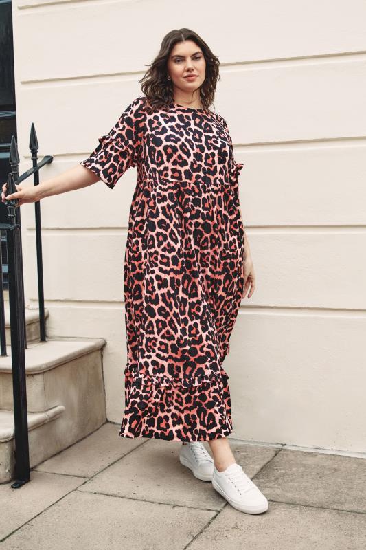 THE LIMITED EDIT Pink Leopard Print Smock Midaxi Dress_L2.jpg