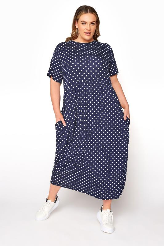 Plus Size  LIMITED COLLECTION Navy Polka Dot Smock Maxi Dress