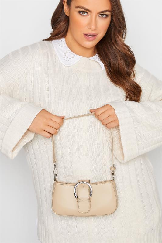 Cream Buckle Front Shoulder Bag