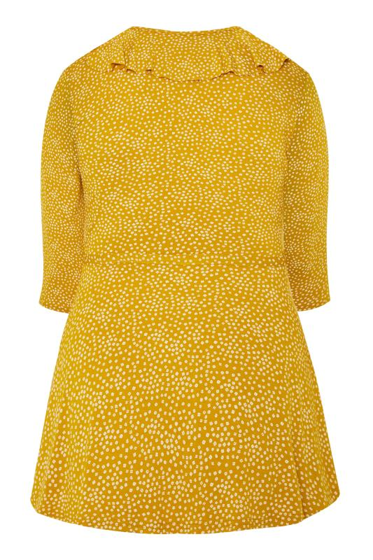 LIMITED COLLECTION Mustard Yellow Ditsy Daisy Print Wrap Top
