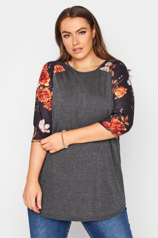 LIMITED COLLECTION Charcoal Floral Top_A.jpg
