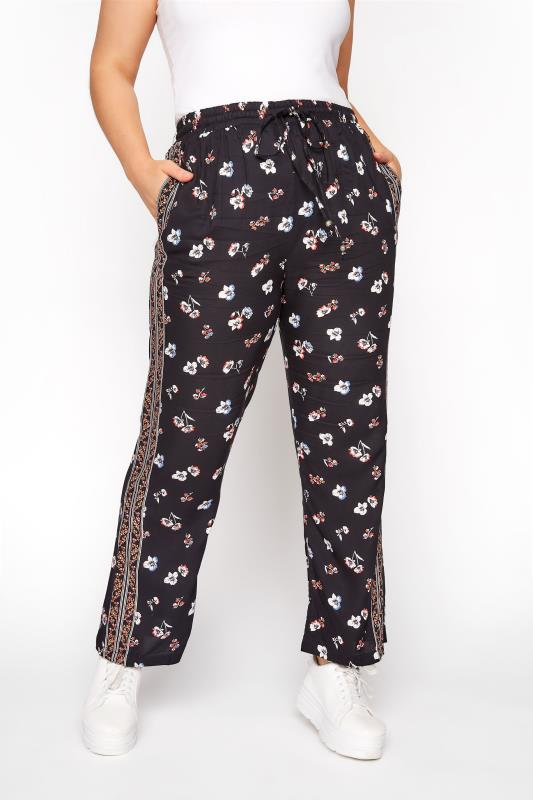 Plus Size  Black Floral Stripe Tapered Trousers