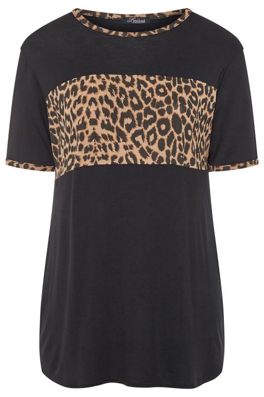 LIMITED COLLECTION Black & Leopard Print Ringer Colour Block T-Shirt