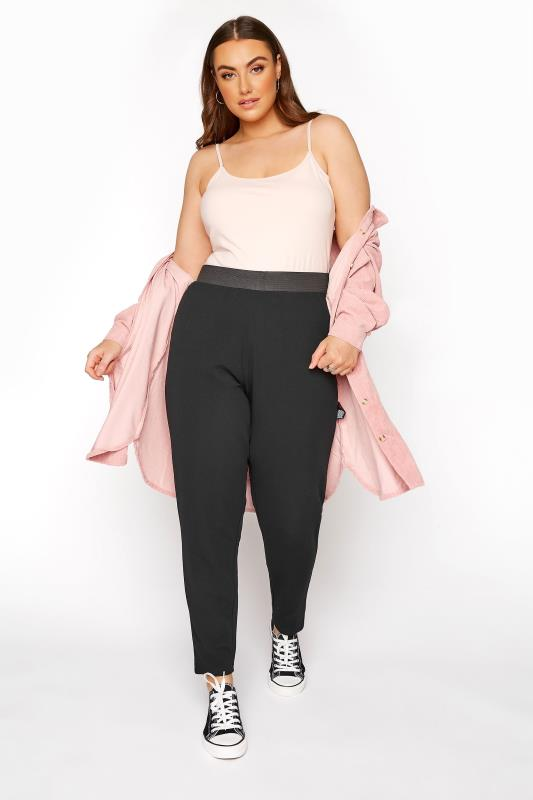 Plus Size Tapered & Slim Fit Trousers YOURS LONDON Black Tapered Trousers