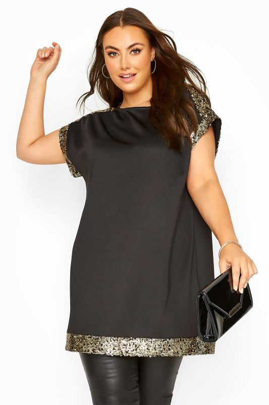 Plus Size  Black & Gold Sequin Trim Tunic Dress