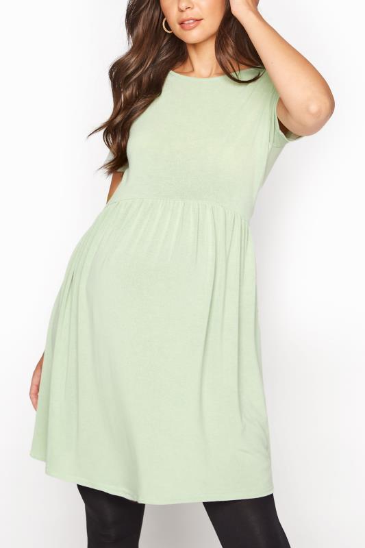 LTS Maternity Green Smock Top_A.jpg
