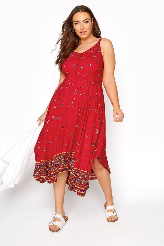 Plus Size  Red Border Hanky Hem Sundress