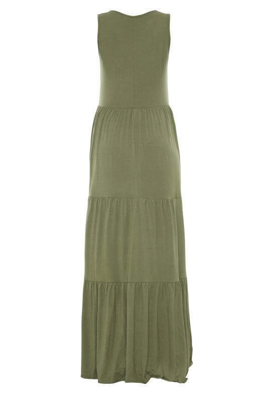 LTS Maternity Khaki Tiered Maxi Dress_BK.jpg