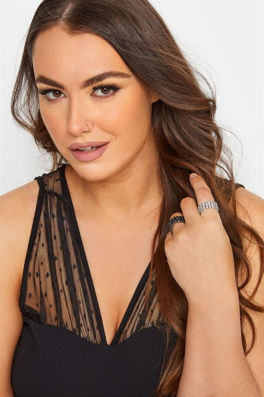 Plus Size  2 PACK Black & Silver Diamante Stretch Ring