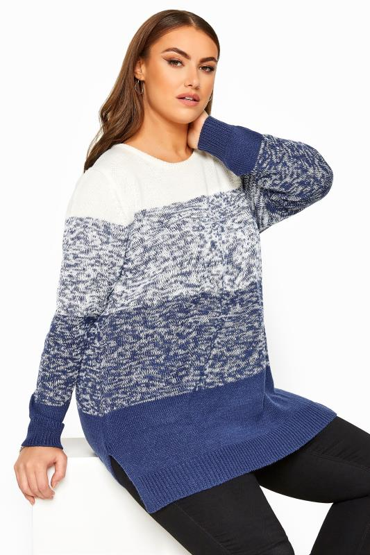 Plus Size Jumpers Blue Twist Colour Block Knitted Jumper