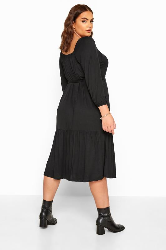 LIMITED COLLECTION Black Square Neck Tiered Midi Dress