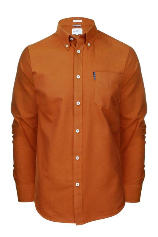 Men's  BEN SHERMAN Rust Orange Signature Long Sleeve Oxford Shirt
