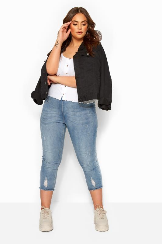 Plus Size Cropped Jeans Bleach Blue Distressed Cat Scratch JENNY Cropped Jeggings