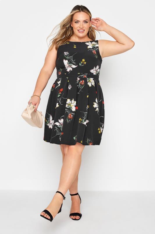 Black Floral Print Skater Dress_B.jpg