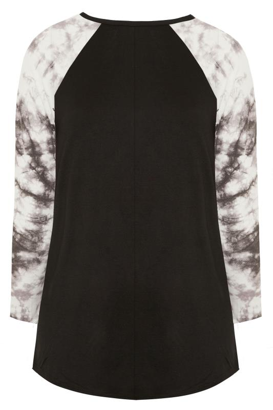 Black Tie Dye Long Raglan Sleeve Top
