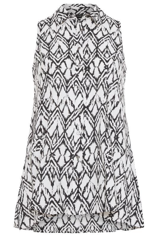 White Aztec Print Dipped Hem Sleeveless Shirt_f.jpg