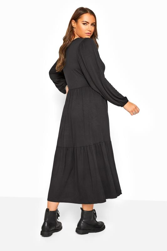 Black Balloon Sleeve Tiered Midaxi Dress