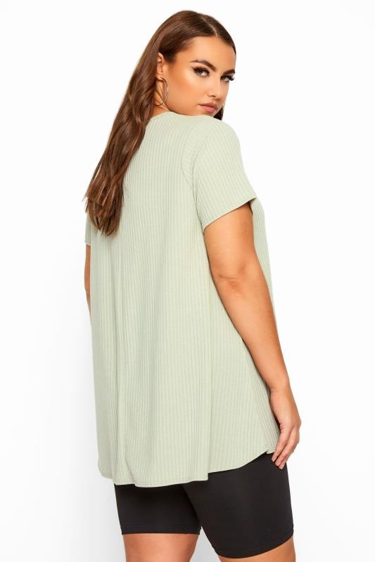 LIMITED COLLECTION Sage Green Ribbed Swing T-Shirt