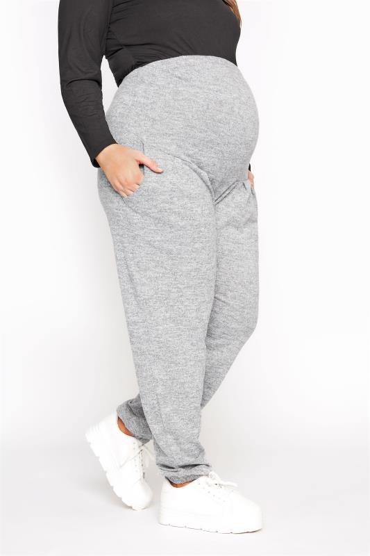 Plus Size  BUMP IT UP MATERNITY Grey Marl Brushed Lounge Pants