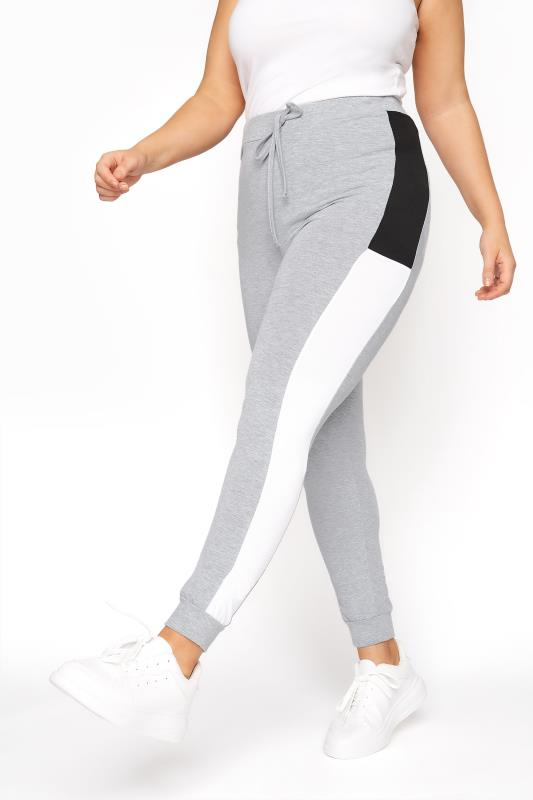 Plus Size  Grey Contrast Colourblock Jogger Leggings