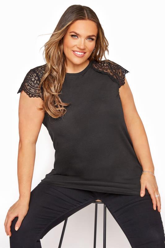Plus Size  Black Lace Cap Sleeve Top