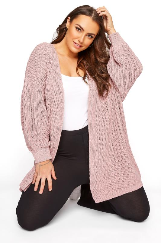 Plus Size  Pink Balloon Sleeve Loose Knit Cardigan