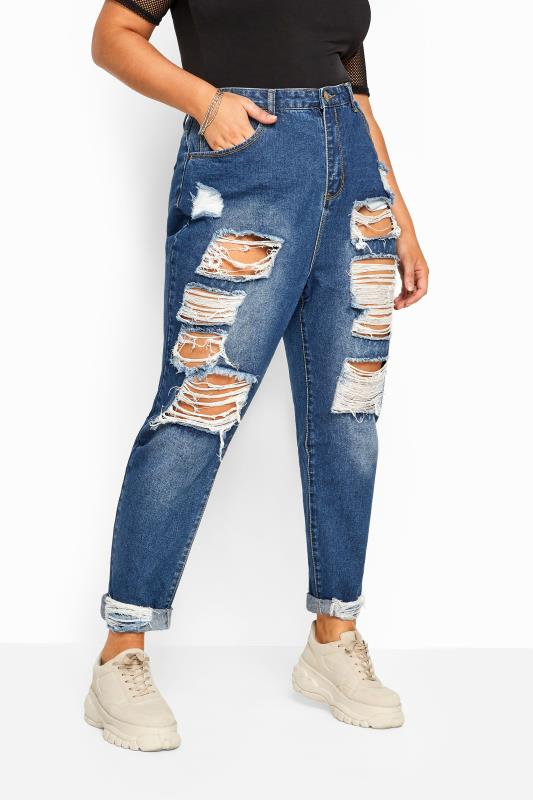 Plus Size Ripped Jeans Mid Blue Extreme Ripped MOM Jeans