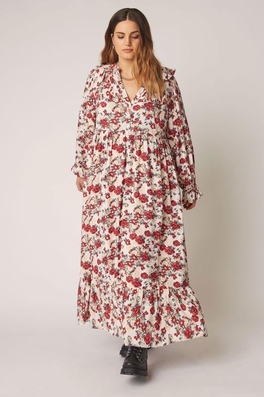THE LIMITED EDIT Cream Floral Frill Smock Maxi Dress_B.jpg