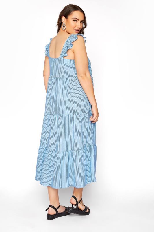 YOURS LONDON Blue Stripe Frill Tiered Midi Dress_C.jpg