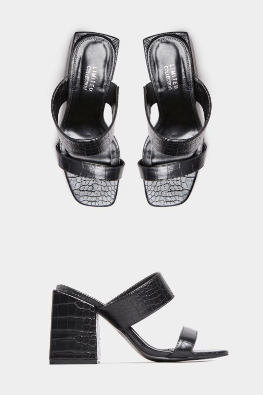 LIMITED COLLECTION Black Vegan Faux Leather Croc Heeled Mules In Extra Wide Fit