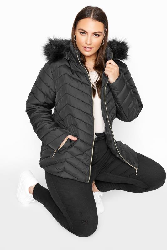 Plus Size  Black Chevron Padded Puffer Coat