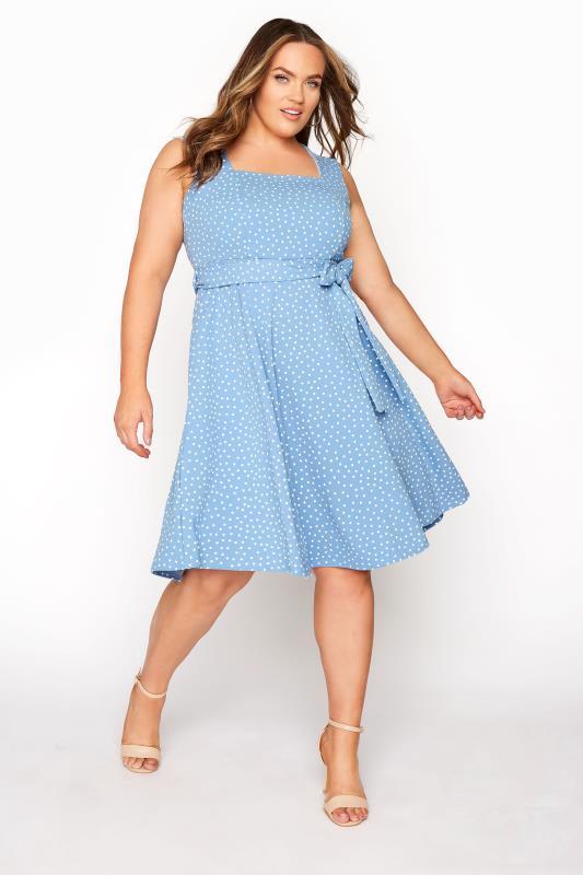 YOURS LONDON Blue Polka Dot Skater Dress_A.jpg