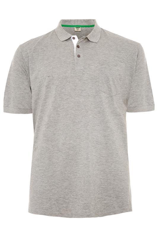 Plus Size  D555 Light Grey Marl Basic Polo Shirt