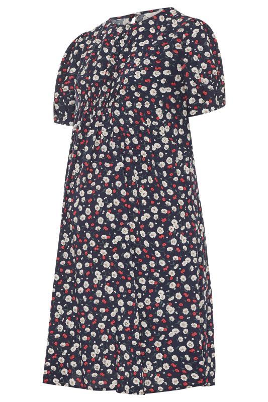 BUMP IT UP MATERNITY Navy Floral Puff Sleeve Midi Dress_F.jpg