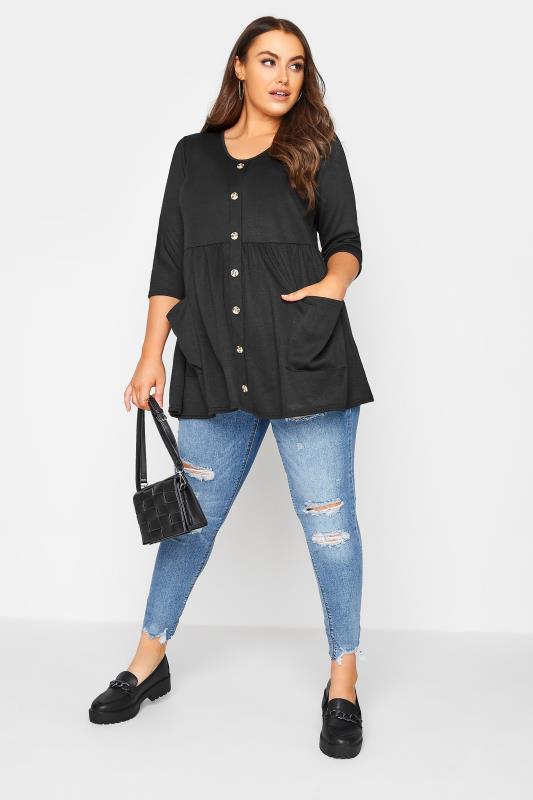 Black Mock Button Knitted Top_B.jpg