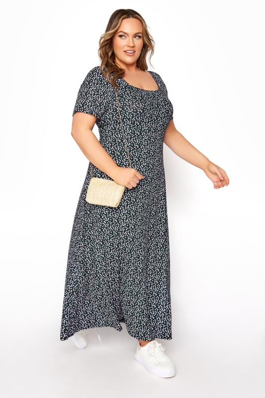 LIMITED COLLECTION Black Ditsy Floral Square Neck Maxi Dress_A.jpg