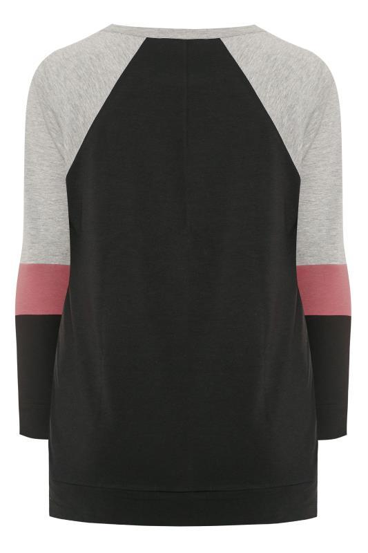 Grey & Pink Colour Block Sweatshirt