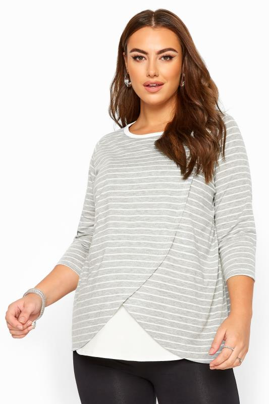 Maternity Tops & T-Shirts BUMP IT UP MATERNITY Grey & White Stripe Nursing Top