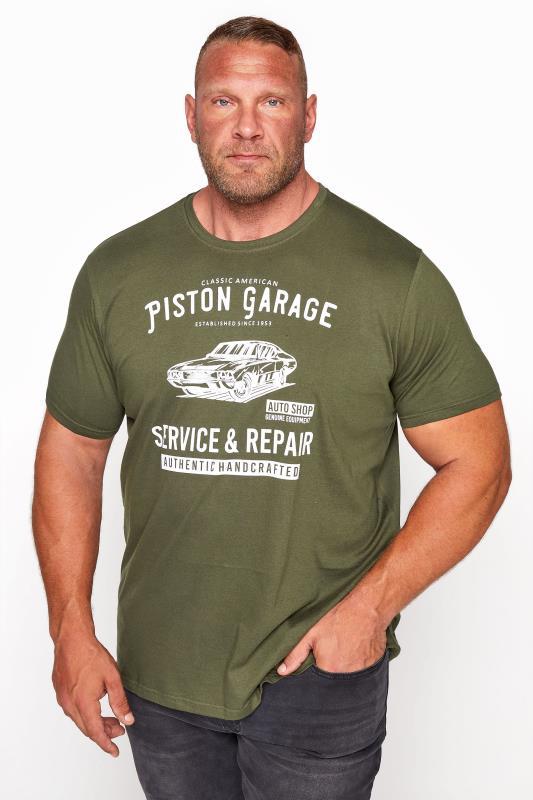 BadRhino Khaki Piston Garage Graphic Print T-Shirt