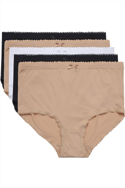 Plus Size Panties 5 PACK Black, White and Nude Full Briefs