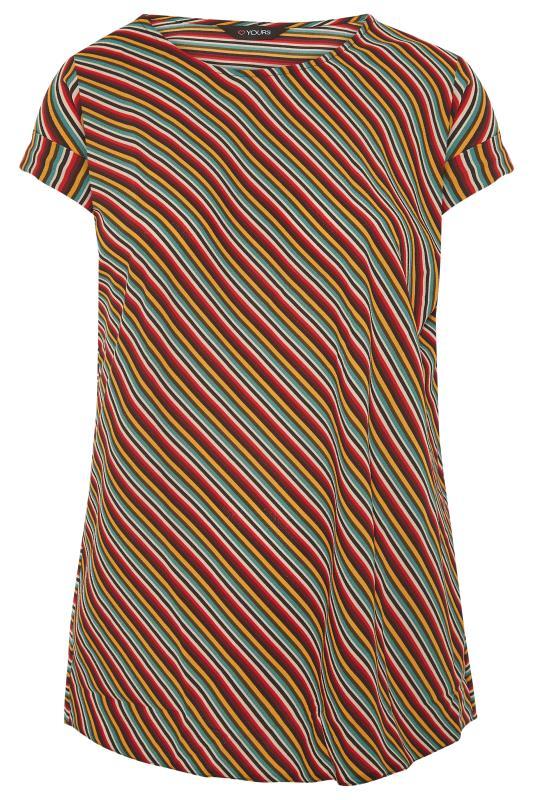 Plus Size  Orange Multi Stripe Dipped Hem Blouse