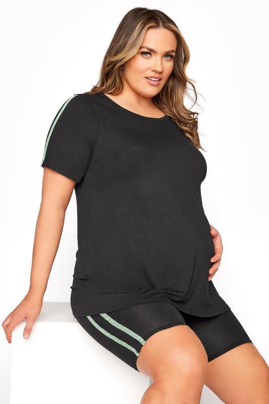 BUMP IT UP MATERNITY Black Stripe T-shirt & Shorts Set_A.jpg