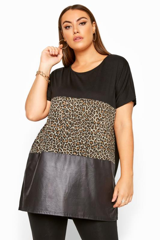 Großen Größen Jersey Tops Black Animal Print Leather Look Colour Block Top