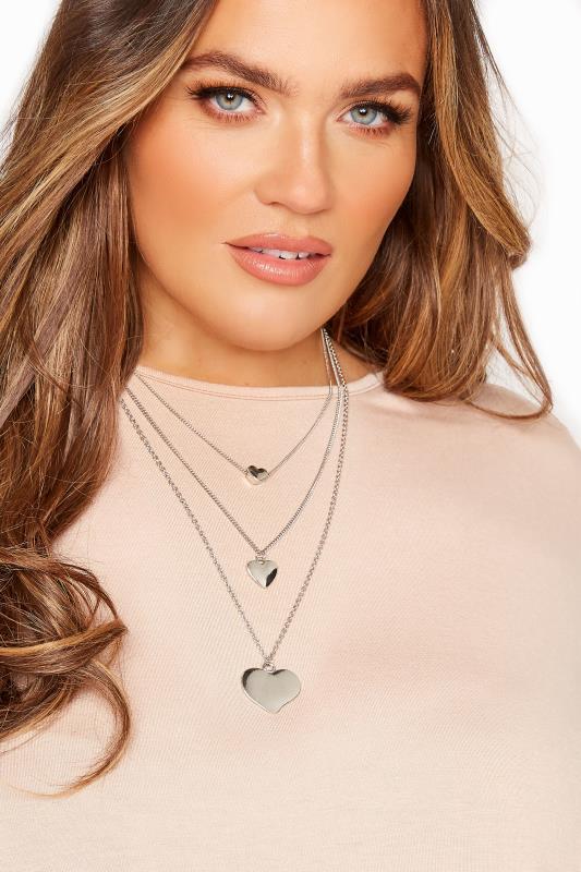 Großen Größen  Silver Heart Tiered Necklace