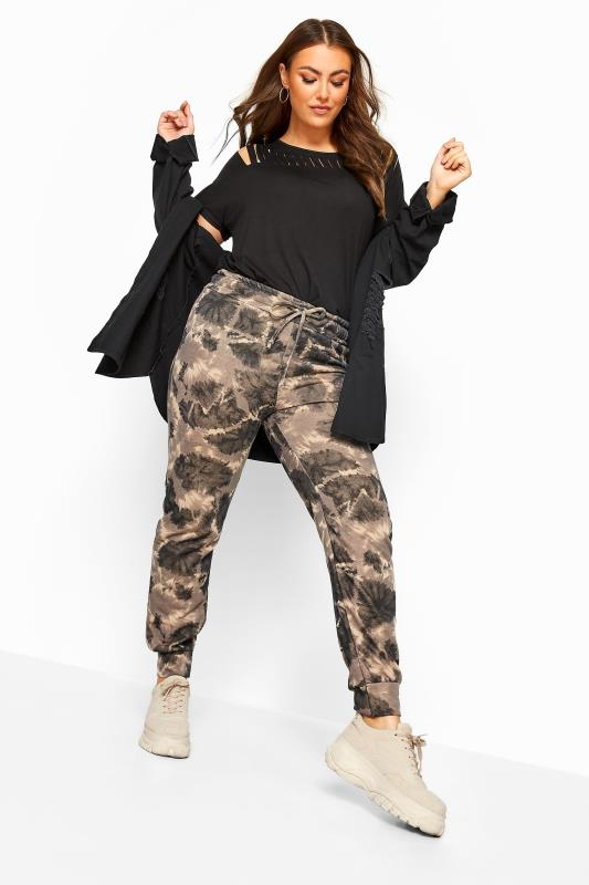 Plus Size Casual / Every Day Black & Brown Tie Dye Cuffed Joggers