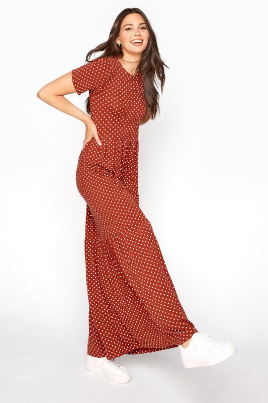 LTS Rust Polka Dot Tiered Midaxi Dress
